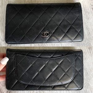 Chanel Quilted Classic Black Leather Bifold Wallet
